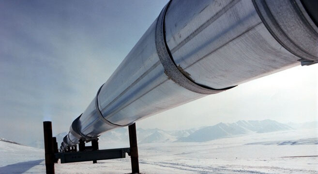Part of the 800 mile (1300km) Trans Alaska Pipeline, in which BP has a 50% interest.
